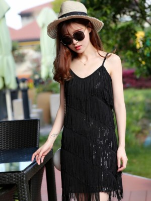 Joy Tassels Black Cami Sleeveless Dress (9)