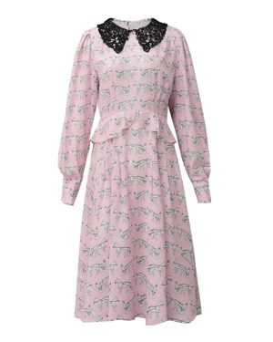 Lisa Horse Print Pattern Pink Dress (1)