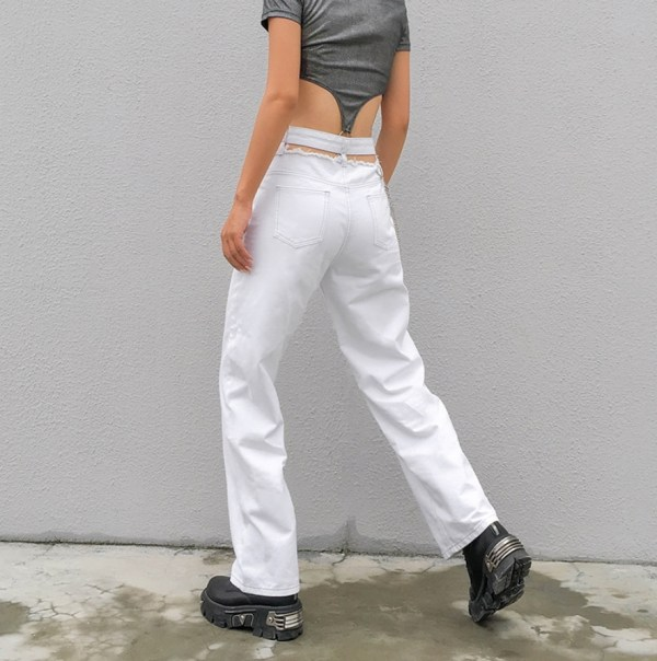 White Pants With Waist Cut-out | Lisa – BlackPink