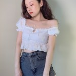 Short Sleeved White Ruffled Crop Top | Lisa – BlackPink
