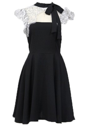 Momo Lace Designed Chest Black Dress (2)