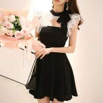 Lace Designed Chest Black Dress | Momo – Twice