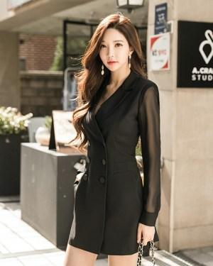 Momo Mesh Sleeves Suit Dress 2