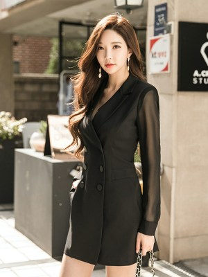 Momo Mesh Sleeves Suit Dress 2