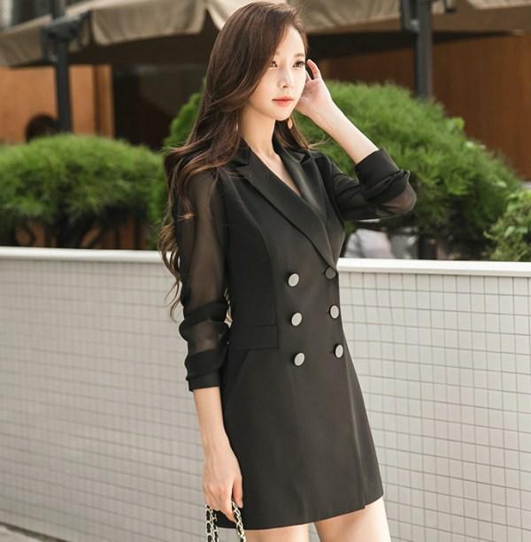 Mesh Sleeves Suit Dress | Momo – Twice