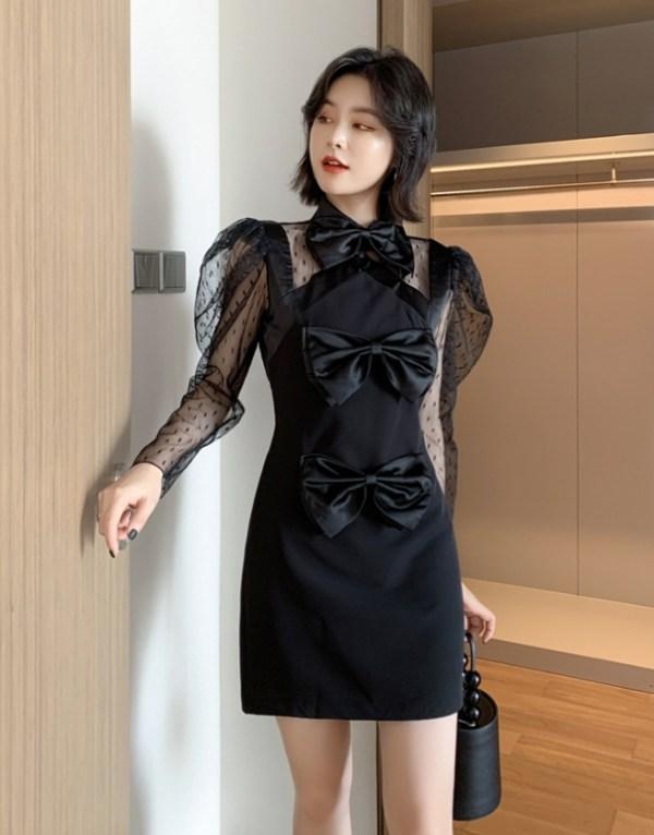 Triple Big Bows Black Dress | Nayeon – Twice