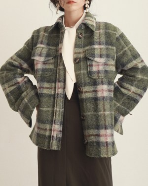 Nayeon Woolen Plaid Coat 5