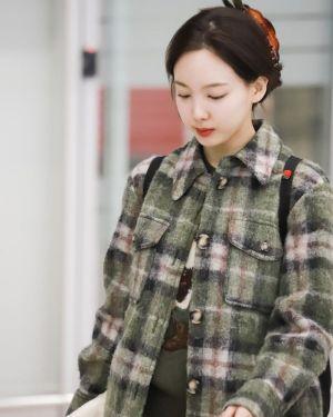 Woolen Plaid Coat | Nayeon – Twice