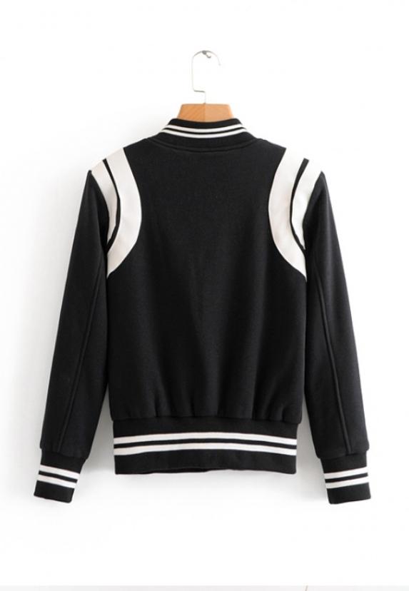 White Lined Black Baseball Jacket | Rose – BlackPink