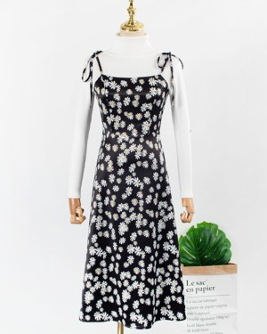 Yoon Se Ri Black Light Flower Cami Dress and Turtleneck Base White Sweater (1)