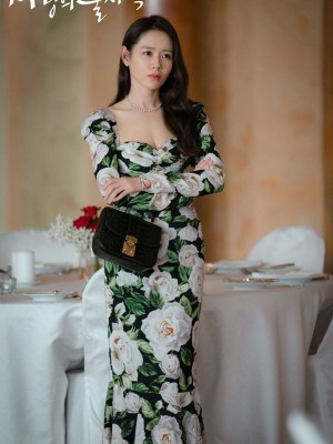 Green Chic Long Flower Dress | Yoon Se Ri – Crash Landing On You