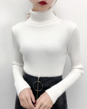 Yoon Se Ri Turtleneck White Base Sweater