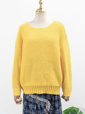 Yoon Se Ri Yellow Knit Sweater & Blue Floral Irregular Cut Skirt (2)