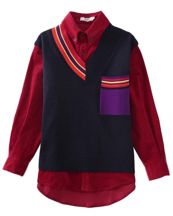 Red Shirt For Striped V-Neck Vest   IU