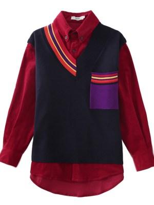 IU Striped V-Neck Vest (2)