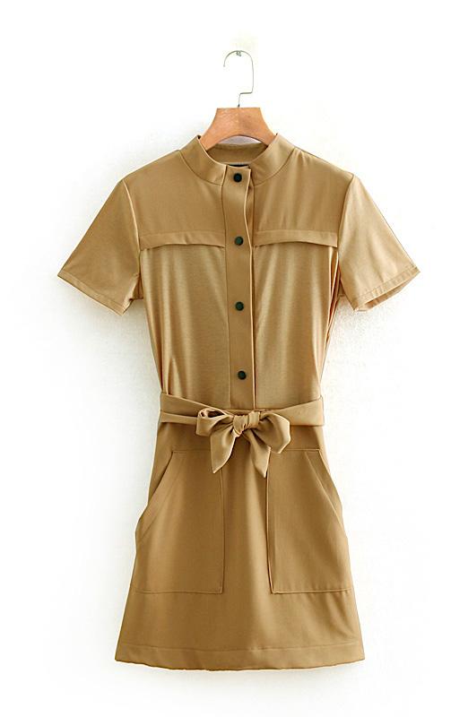 Band Collar Tan Colored Belted Dress   Jisoo – Blackpink