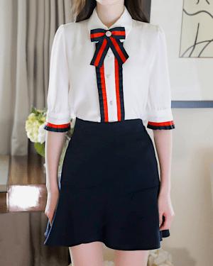 Jisoo Chiffon Poplin Long Sleeve Shirt 6