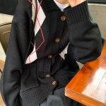 Retro Diamond Plaid Cardigan | Jisoo – Blackpink