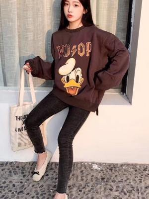 Jungwoo Charcoal Donald Duck Print Pullover 3