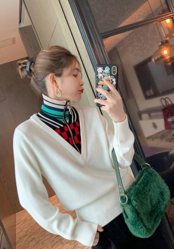 High Collar Zippered Striped Sweater   Seulgi – Red Velvet