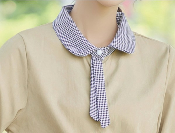 Baby Collar with Bow Khaki Shirt