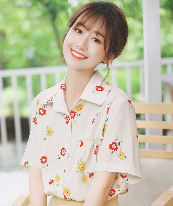 Chiffon Floral Short Sleeve Shirt