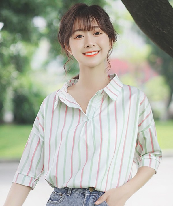 Colored Vertical Stripes Wide Collar Shirt