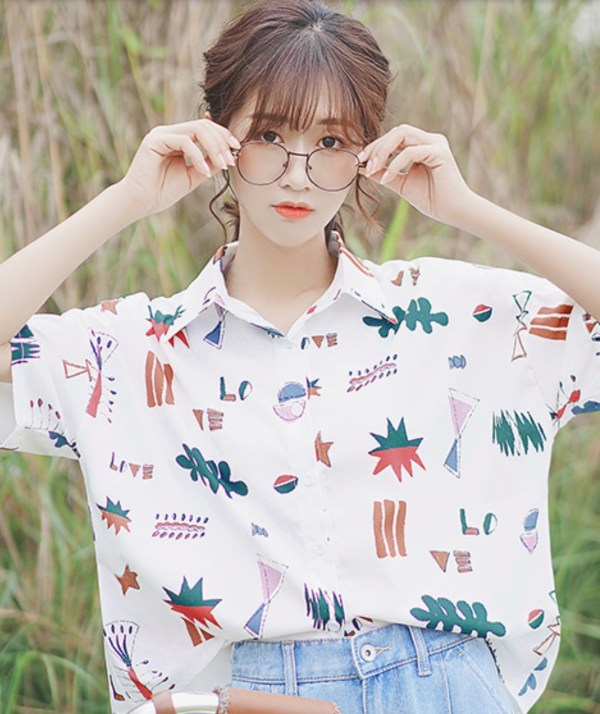 Colorful Shapes Button-up Shirt