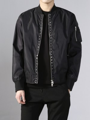 J-hope Square Studs Classic Black Bomber Jacket 00016
