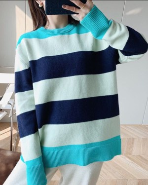Jeongin Turquoise Shoulder and Hem Multicolor Sweater 00013