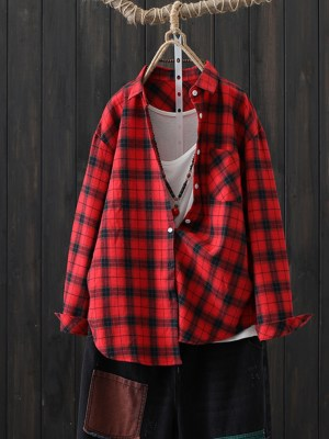 Jo Yi So Red Flannel Mid Length Shirt 00011