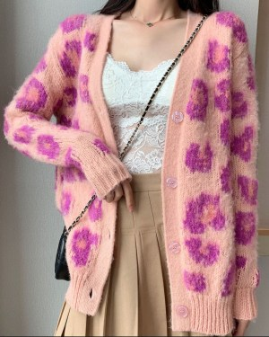 Joy Pink Leopard Knitted Oversize Cardigan 00002