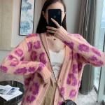 Pink Leopard Knitted Oversize Cardigan | Joy – Red Velvet