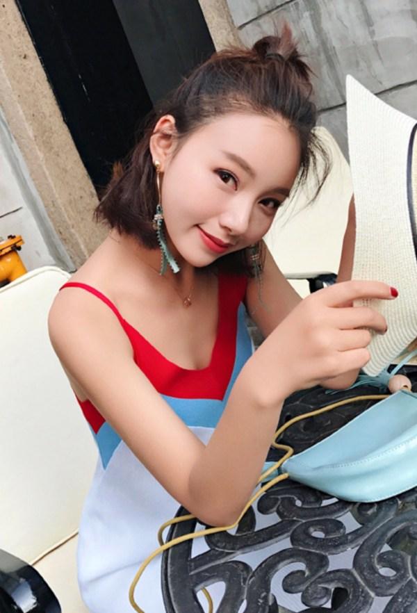 Red and Blue Collared Silk Dress | Joy – Red Velvet