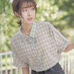 Khaki Plaid Mid Length Sleeve Shirt