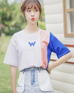 Letter Print Short-Sleeved T-Shirt (4)