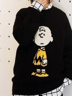 Lisa Charlie Brown Classic Black Sweater 00001