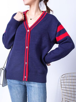 Mina Double Red Band Blue Cardigan 00013