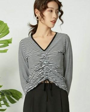 Miyeon Black and White Stripes Drawstring Top (2)