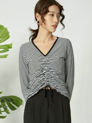 Miyeon Black and White Stripes Drawstring Top (2)