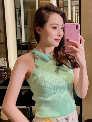 Momo Buttoned Mint Haltered Cropped Top 00008