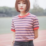 Multicolored Striped T-Shirt With Red Collar