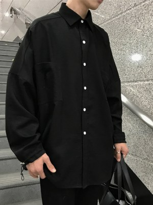 Park Seo Roi Oversized Black Lapeled Long Sleeve Shirt 00001