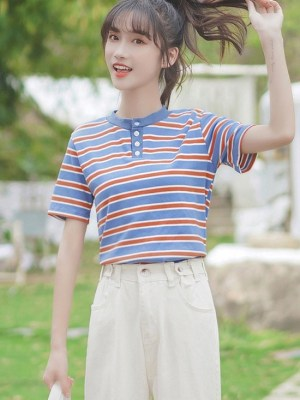 Polo With Multicolored Horizontal Stripes