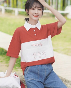 Red Polo With Bear Print (6)