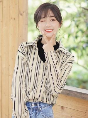 Retro Stripes Wide V-neck Shirt