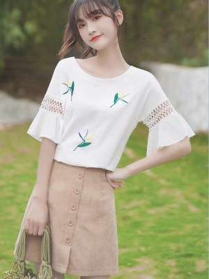Ruffled Sleeve Blouse With Stitched Flowers (7)