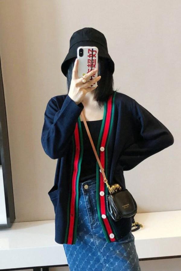 Red Lined Navy Cardigan | Jimin – BTS