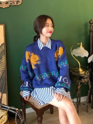 Sehun Squirrel Blue Oversized Sweater 00001