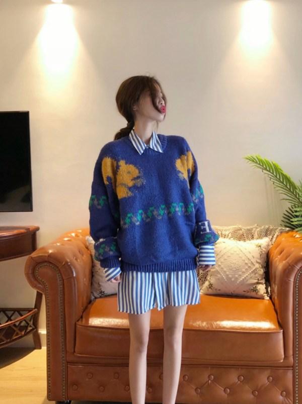 Squirrel In Blue Oversized Sweater | Sehun – EXO